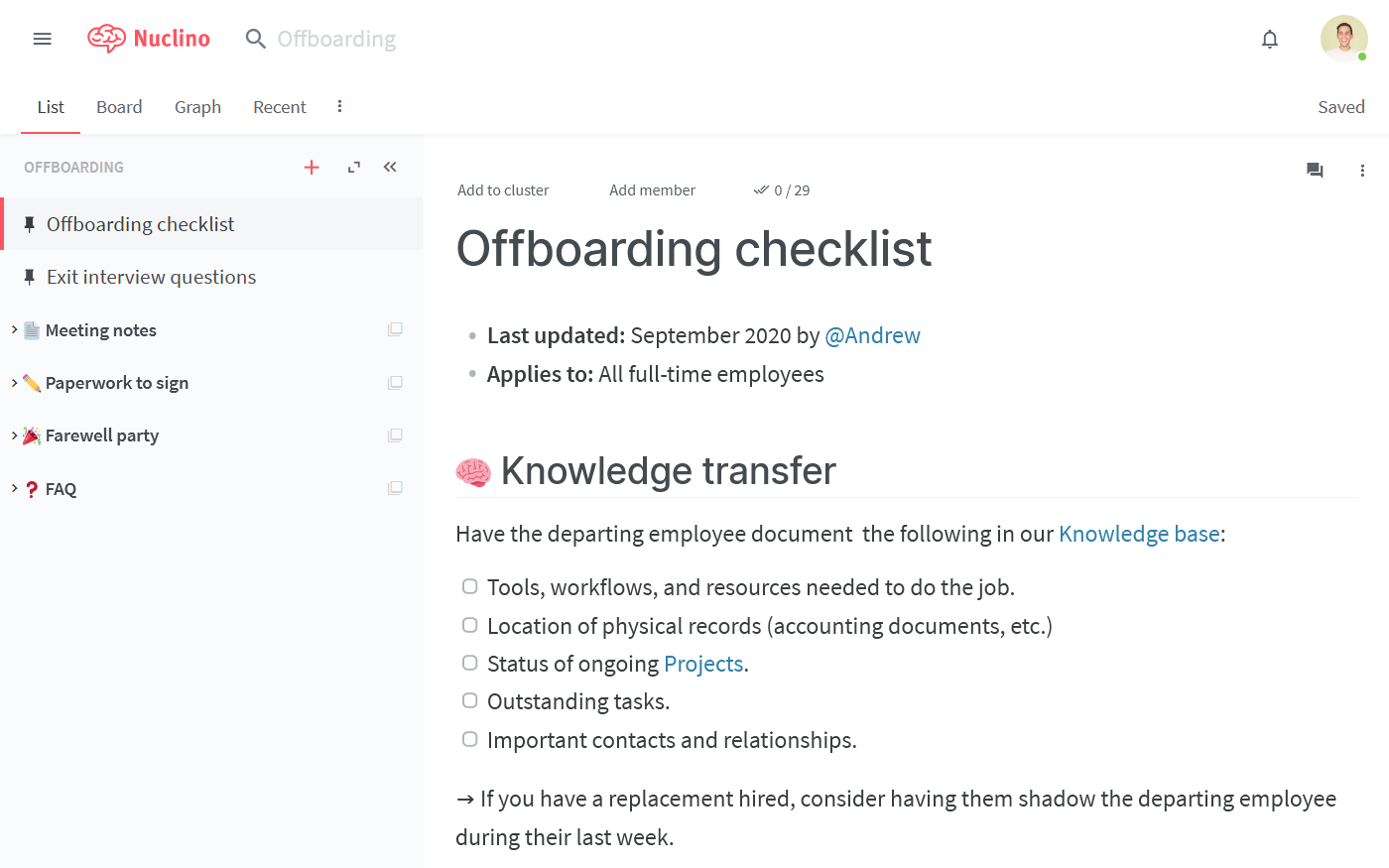 Employee offboarding checklist example in Nuclino