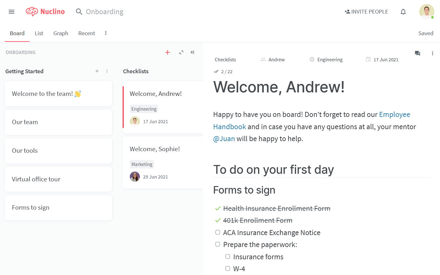 New employee onboarding checklist in Nuclino