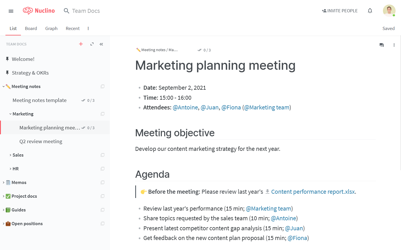 Meeting minutes example in Nuclino