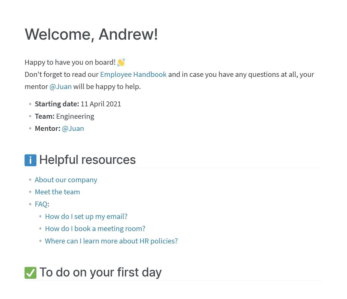 Onboarding checklist and welcome page for new hires