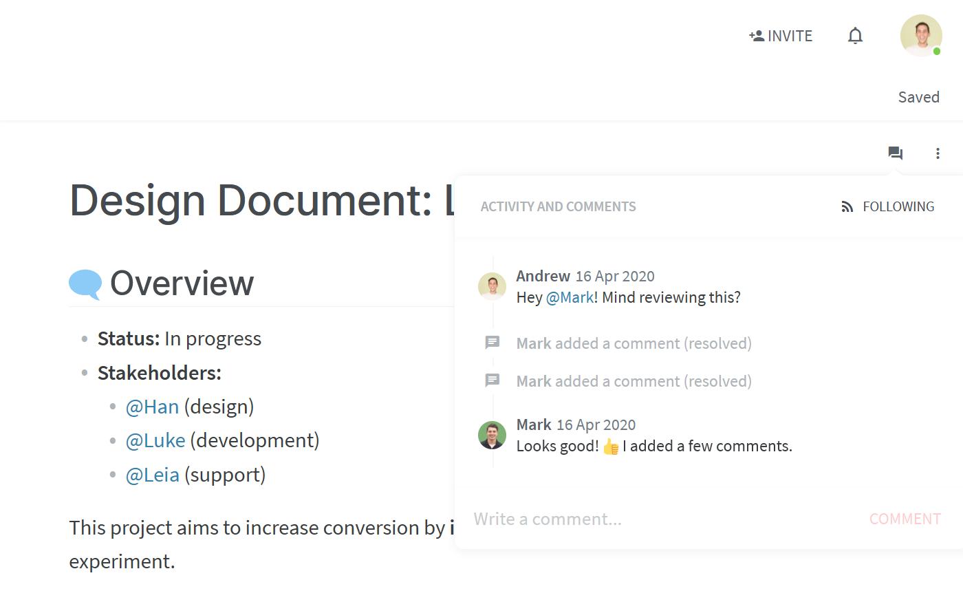 Feedback on software design document